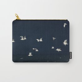 Evening Birds in Flight - Dark Blue Sea and Ocean photography by Ingrid Beddoes Carry-All Pouch