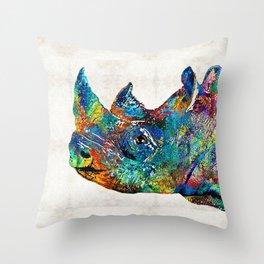 Rhino Rhinoceros Art - Looking Up - By Sharon Cummings Throw Pillow