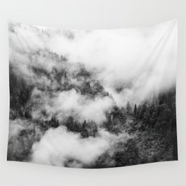 Fog Forest in Black and White – Landscape Photography Wall Tapestry