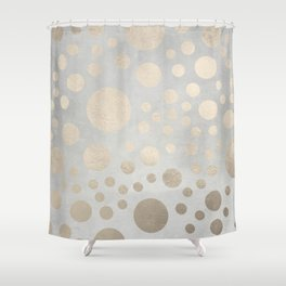 Champagne Gold Dots Pattern on Old Metal Texture Shower Curtain