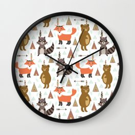 Bohemian orange brown forest animal arrows tribal pattern Wall Clock