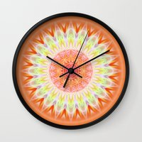 health Wall Clocks featuring Mandala Health by Christine baessler