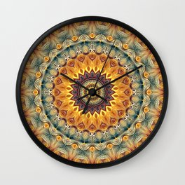 Flower Of Life Mandala (Sun-kissed) Wall Clock