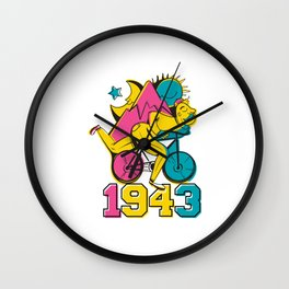 A reworked Bicycle acid 1943 on a tie dye background. Wall Clock
