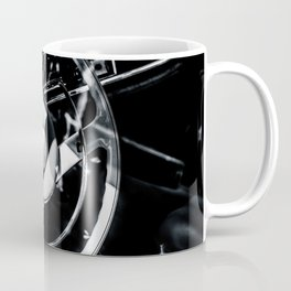 Steering Wheel Of A Luxury Car Black White Coffee Mug