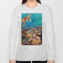 A Look around - Sea turtle in the reef Long Sleeve T-shirt