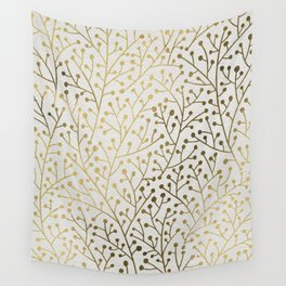 Gold Berry Branches Wall Tapestry