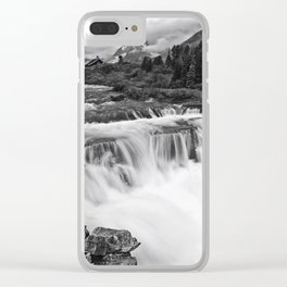 Mountain Paradise in Black and White Clear iPhone Case