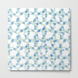 Blue Flowers on Vines with White Background Metal Print