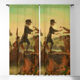 1857 Rhode Island Classical Masterpiece 'The Landing of Roger Williams' by Alonzo Chappel Blackout Curtain