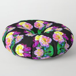 Rosa Yellow Roses on Black Pattern Floor Pillow