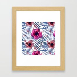 Hibiscus and Palm Trees Leaves Framed Art Print