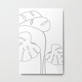 Monstera plant leafs line art Art black and white Metal Print