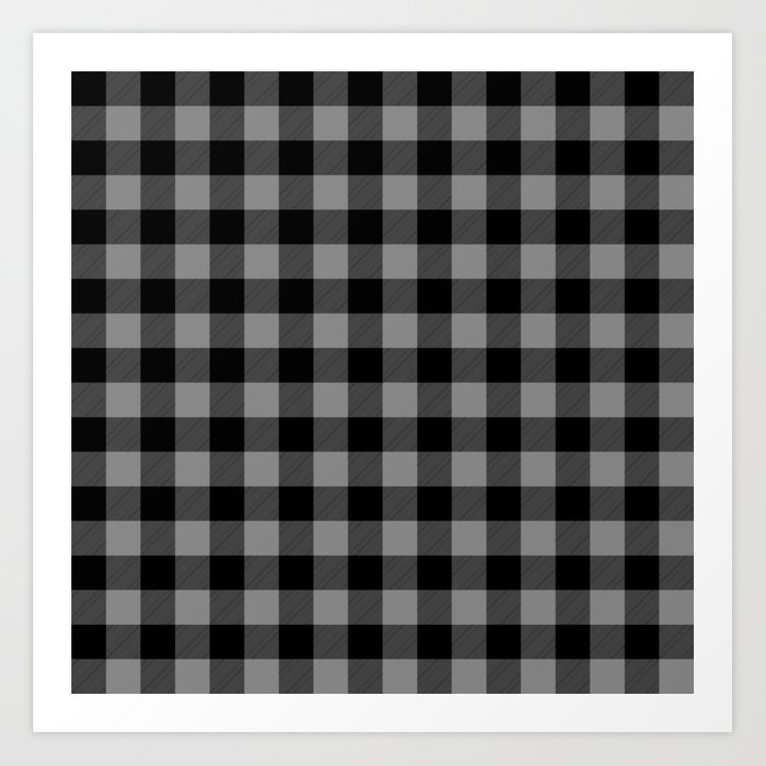 Gray And Black Lumberjack Buffalo Plaid Fabric Art Print By