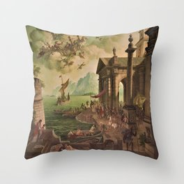 Ulysses Farewell to Penelope Seaport Landscape by Rex Whistler Throw Pillow
