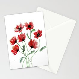 Red Poppy Flowers in Watercolours Stationery Cards