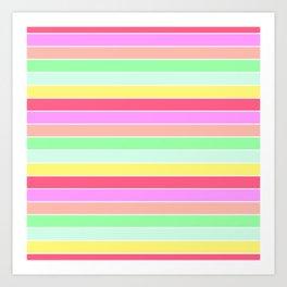 Pastel Rainbow Sorbet Horizontal Deck Chair Stripes Art Print