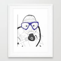 scuba Framed Art Prints featuring Scuba by Margaret Rose