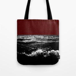 Black Wave w/Dark Red Horizon Tote Bag
