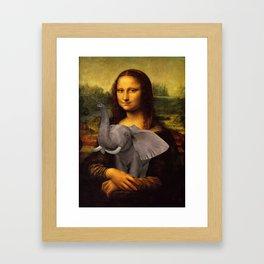 Mona Lisa With Elephant Framed Art Print