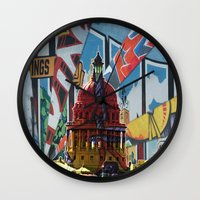 austin Wall Clocks featuring Austin by JonezuArt