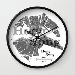 Hong Kong Map Wall Clock