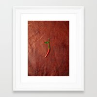 chile Framed Art Prints featuring leather chile by Sanchphoto