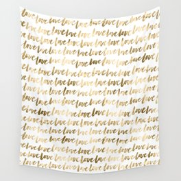 Gold Love Quote Pattern Typography Script 3 Wall Tapestry