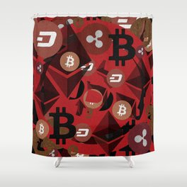 Crypto currency money pink pattern Shower Curtain