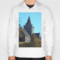scotland Hoodies featuring Crathie Church, Balmoral, Scotland by Phil Smyth