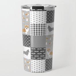 Corgi Patchwork Print - grey, dog, buffalo plaid, plaid, mens corgi dog Travel Mug