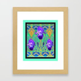 Elegant Art Nouveau Purple Iris Aqua Flower Garden Framed Art Print