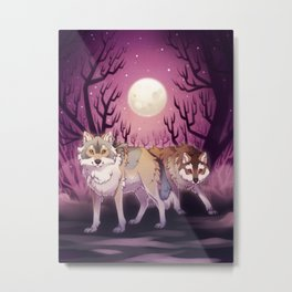 Full Moon - digital drawing of wolves in a forest at night Metal Print