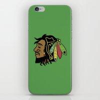 blackhawks iPhone & iPod Skins featuring Rastafarian Blackhawk by beejammerican