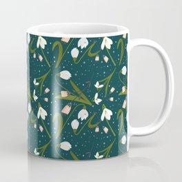 Petite Snowdrops and Pink Folk Flowers Cottagecore Vintage Floral Deep Teal  Coffee Mug