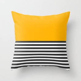 Half Striped Gray - Solid Yellow Throw Pillow