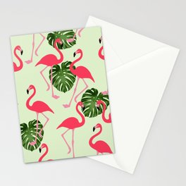 Vintage Green Leaves and Pink Flamingo pattern Cutest Stationery Cards