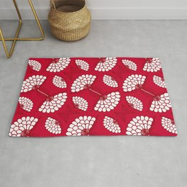 African Floral Motif on Red Rug