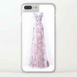 Pink Ballgown Dress Watercolor Fashion Illustration Clear iPhone Case