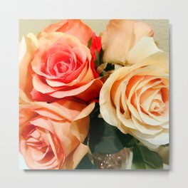 Summer Soft Roses in Red, Peach and Yellow Metal Print