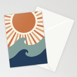 Retro, Sun and Wave Art, Blue and Orange Stationery Cards