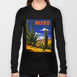 Vintage Mexico Village Travel Long Sleeve T-shirt