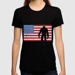 American Flag Bigfoot 4th of July Sasquatch Patriot T-shirt