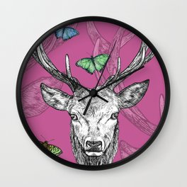 Scottish Stag, butterflies, pen and ink illustration, pretty pink Wall Clock