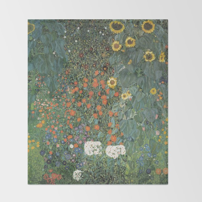 Gustav Klimt Farm Garden With Sunflowers Throw Blanket