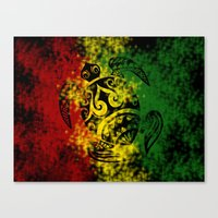 rasta Canvas Prints featuring Rasta Honu by Lonica Photography & Poly Designs