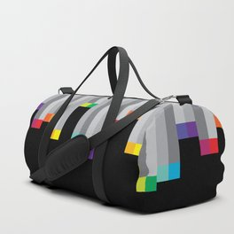 Pixel Rainbow on Black Duffle Bag