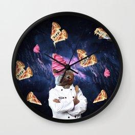 Cat Chef Pizza IceCream Wall Clock