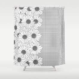 Daisy Grid on Side Shower Curtain