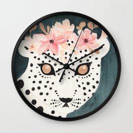 Flower Crown Leopard Wall Clock